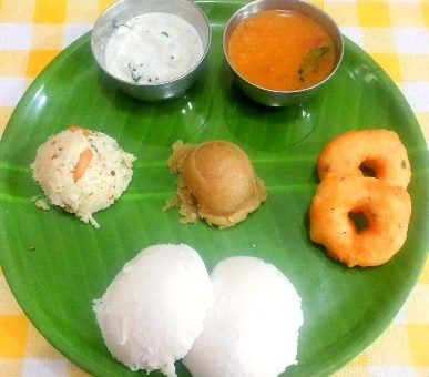 Typical South Indian breakfast foods