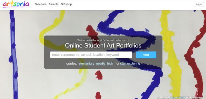 Screenshot of artsonia webpage