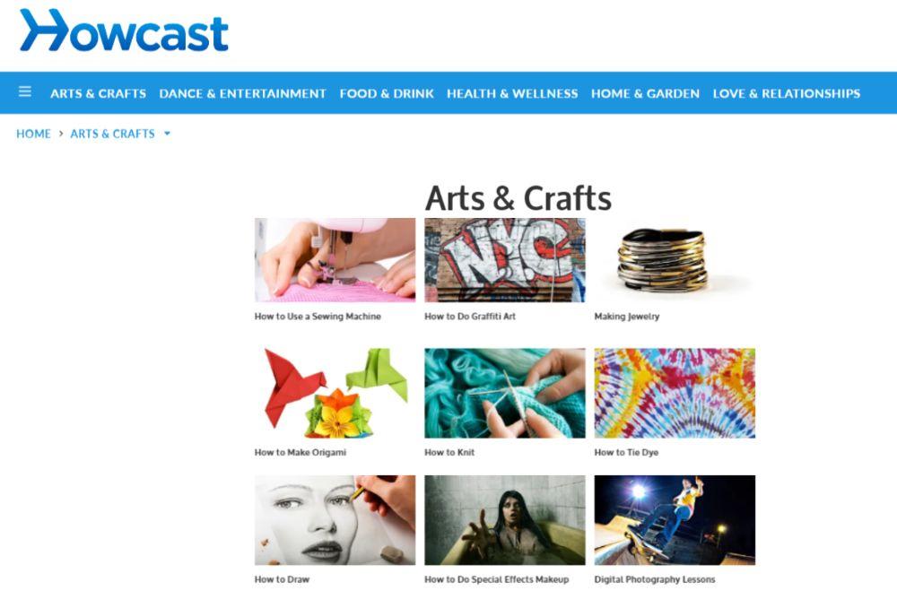 screen shot of howcast website