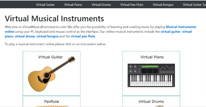 screenshot of virtual musical instruments webpage