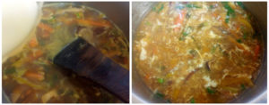 Hot and sour chicken soup preparation steps 8&9