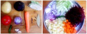 Borscht preparation steps 1&2