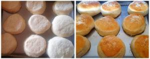 Eggless no knead burger bun prep steps 11&12