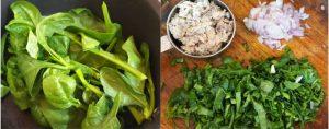 Malabar spinach with fish stir fry step 1